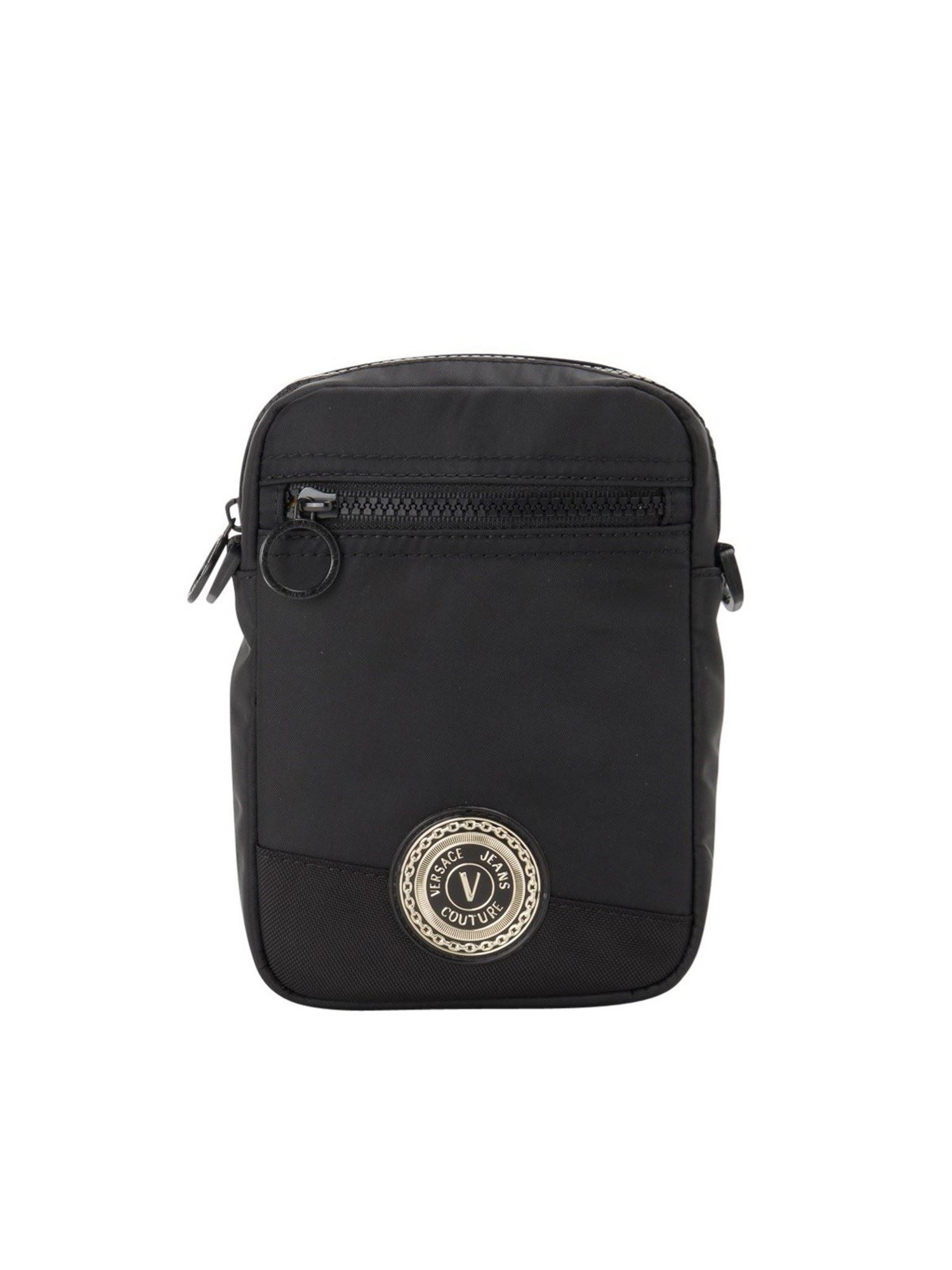Versace Jeans Couture ZIP POCKET CROSSBODY BAG IN BLACK