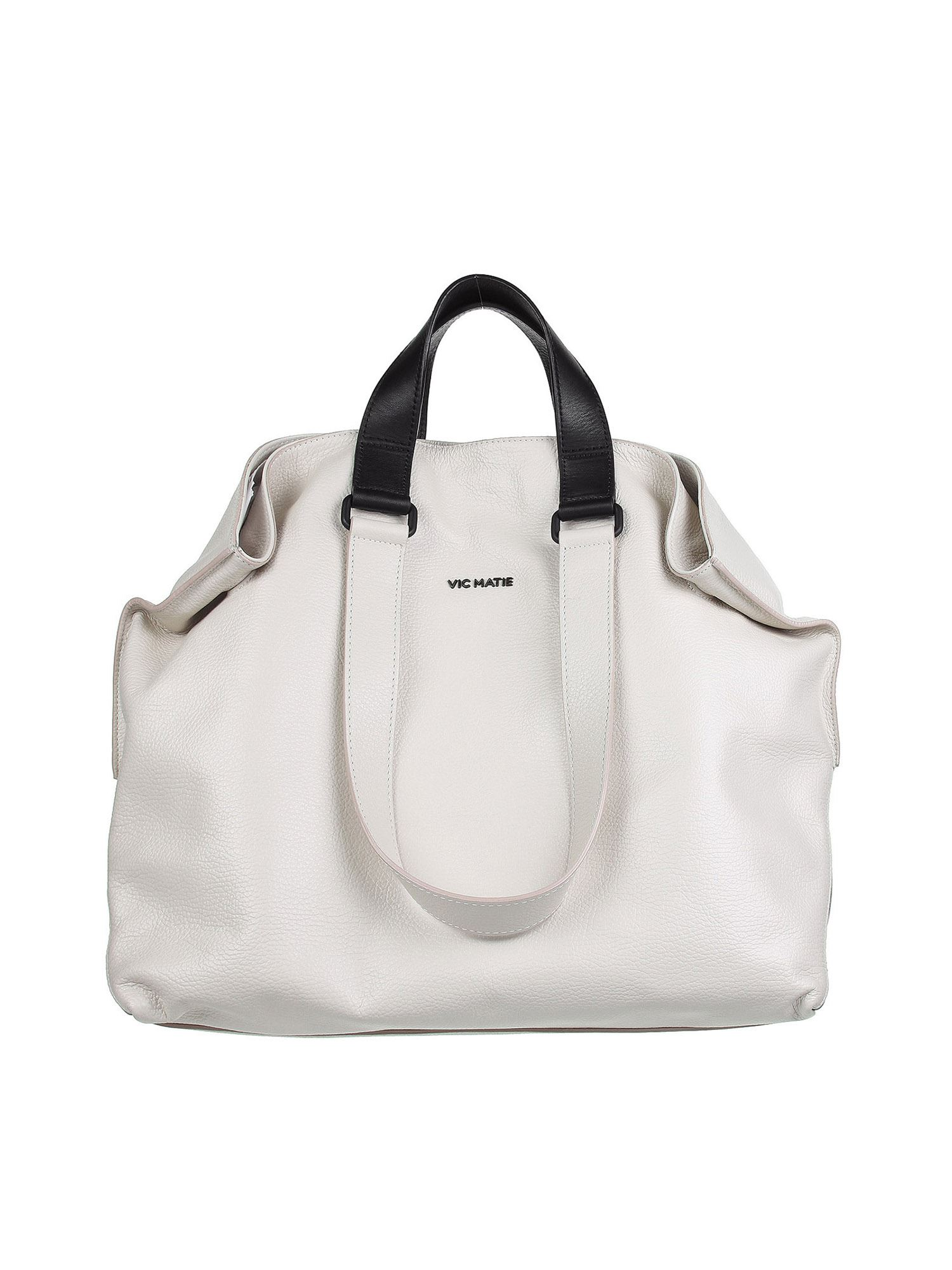 Vic Matie Leathers AGATHE TOTE BAG IN WHITE