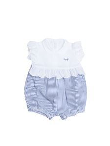 Il Gufo - Seersucker romper in white and blue