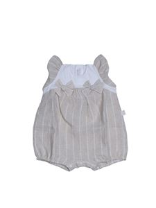 Il Gufo - Striped romper with bows in beige