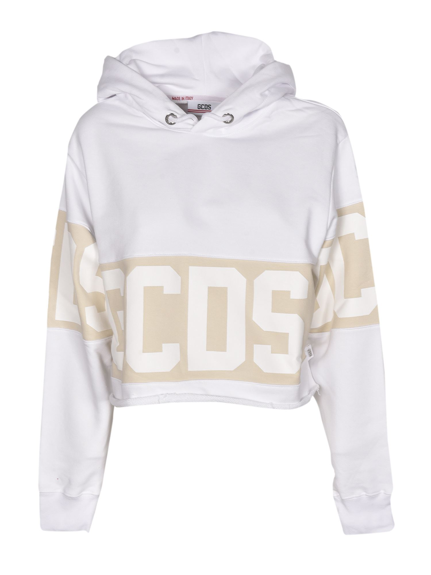 Gcds Cottons CROP LOGO HOODIE IN WHITE