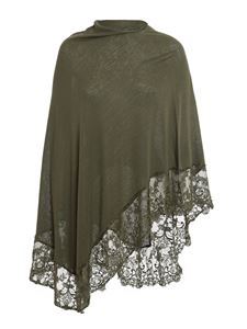 Pink memories - Viscose blend lace poncho in army green