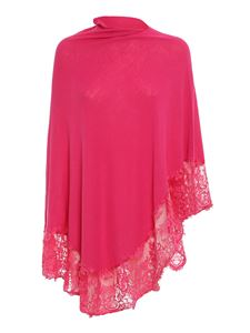 Pink memories - Viscose blend lace poncho in fuchsia