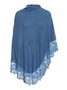 Pink memories - Viscose blend lace poncho in light blue