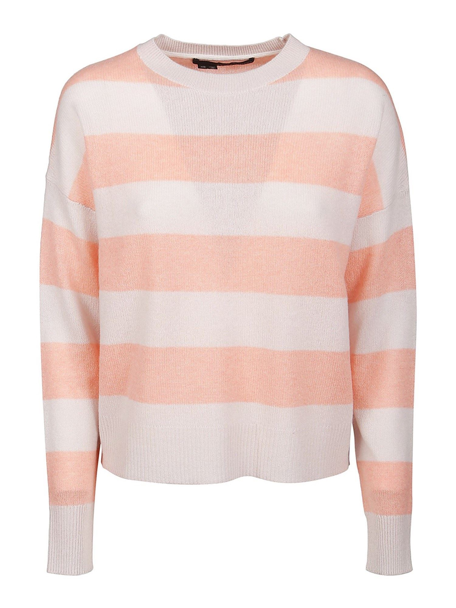 360cashmere MINDIE SWEATER IN WHITE AND PINK