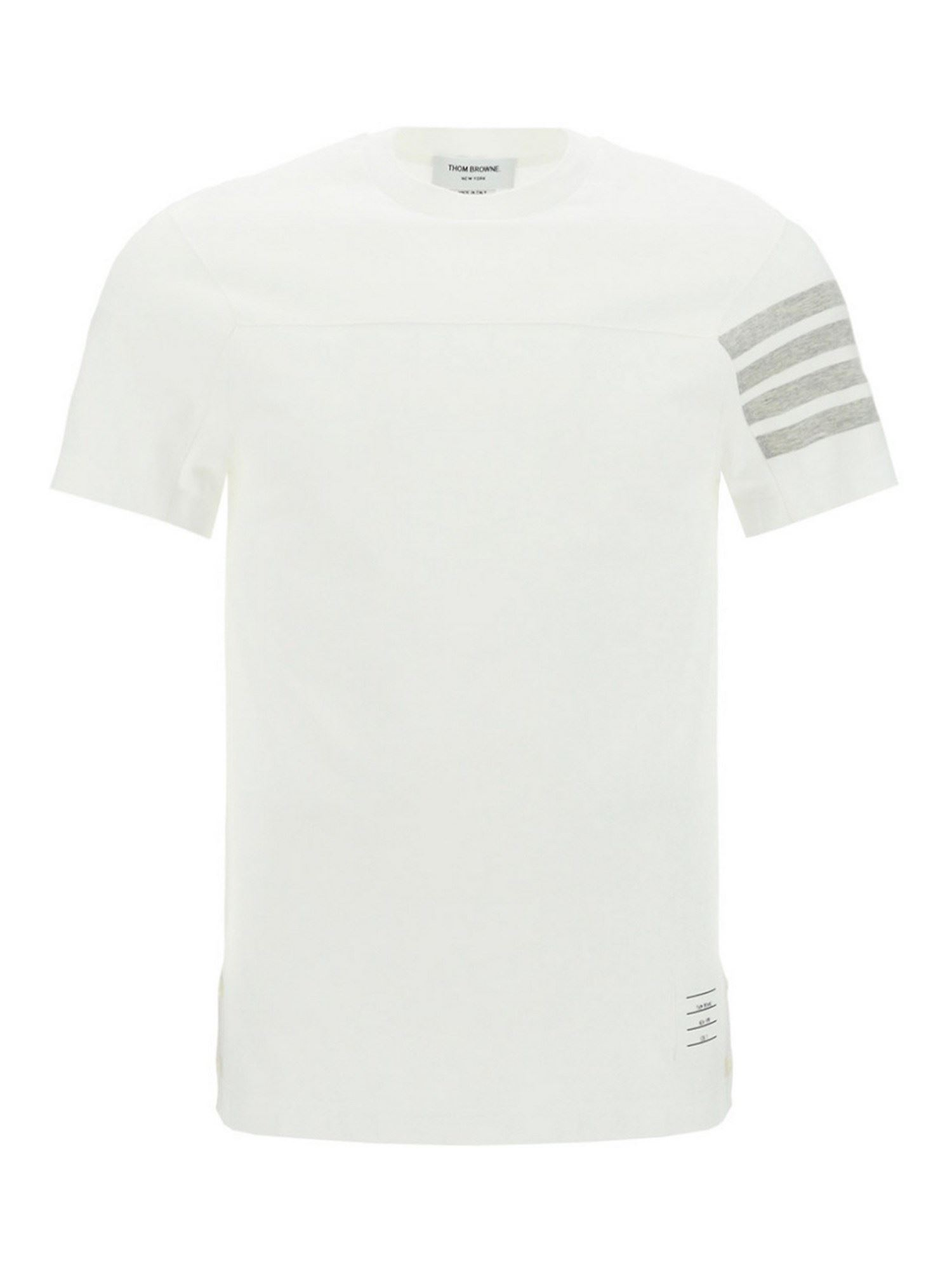 Thom Browne Tops STRIPED DETAIL COTTON T-SHIRT IN WHITE