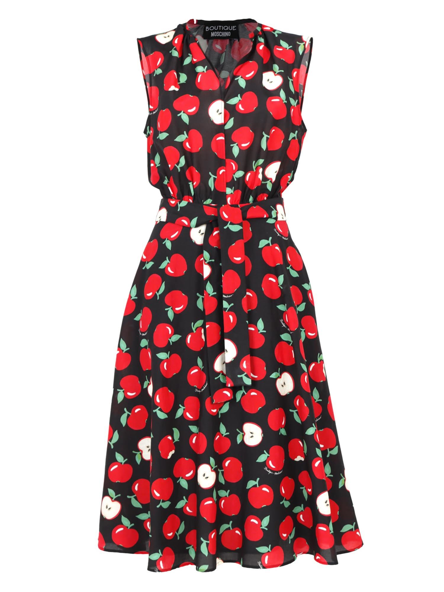 Moschino Boutique Silks MOSCHINO BOUTIQUE APPLE PRINTED DRESS IN BLACK AND RED
