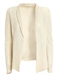Salvatore Santoro - Drilled leather jacket in Ivory color
