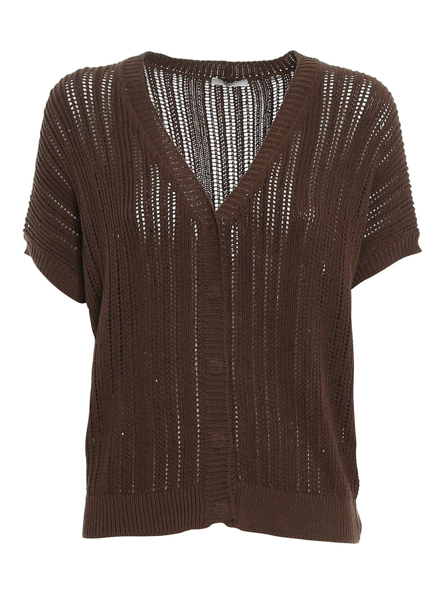 Peserico SEQUIN SHORT SLEEVE CARDIGAN IN BROWN