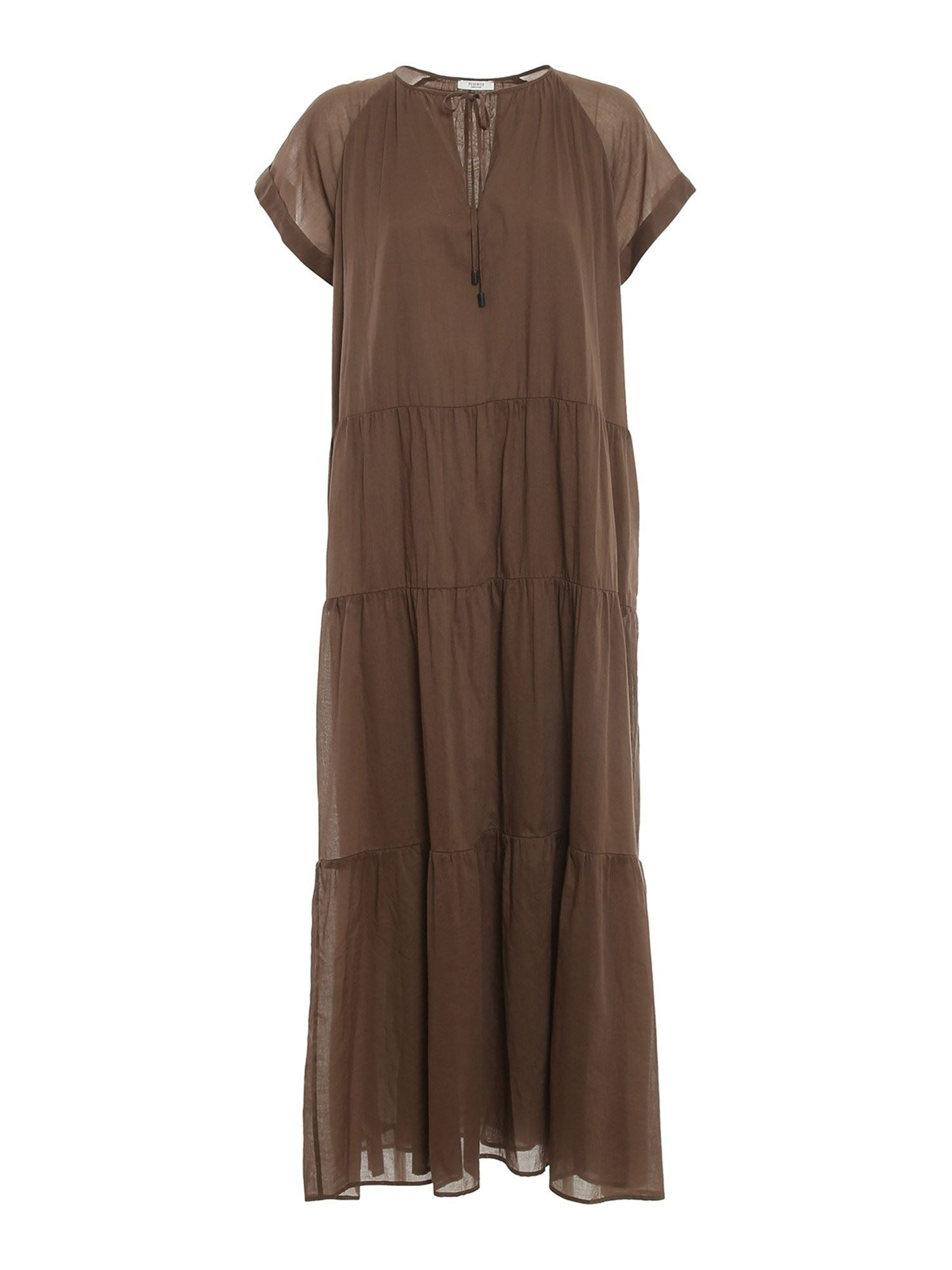 Peserico COTTON V-NECK DRESS IN BROWN