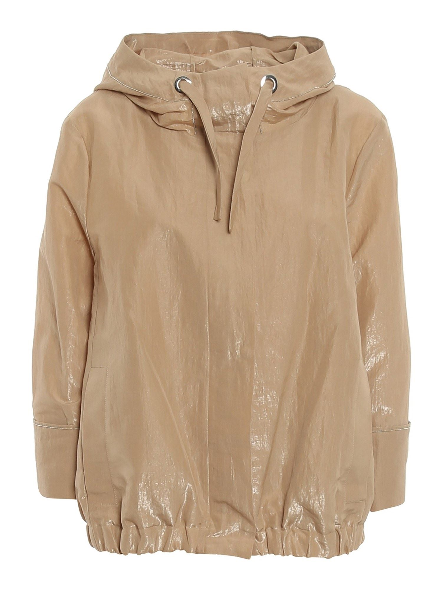 Peserico BEAD DETAILED HOODED JACKET IN BEIGE