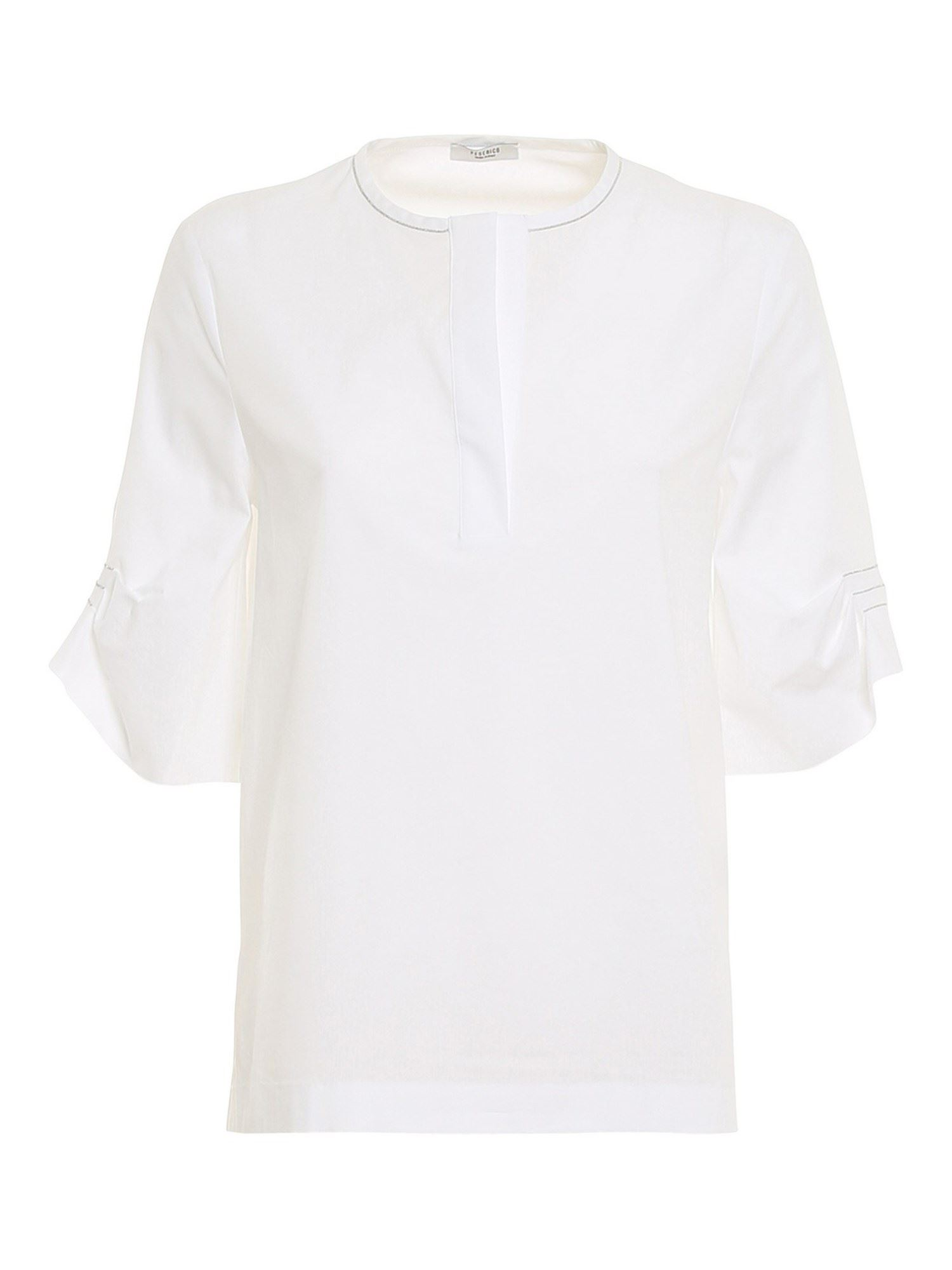 Peserico CREW-NECK BLOUSE IN WHITE
