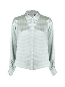 Forte Forte - Houndstooth shirt in light blue and white