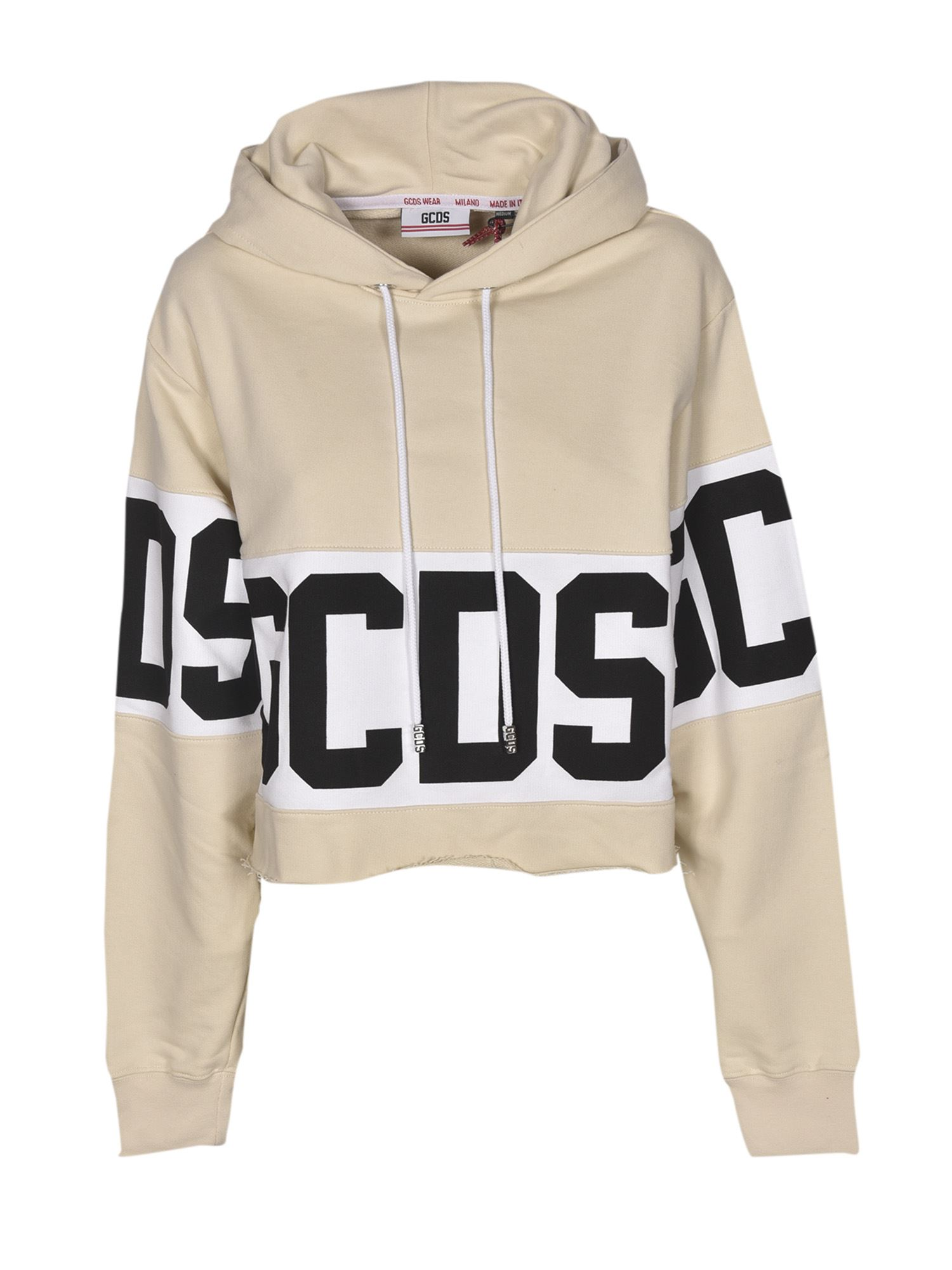 Gcds Crop Logo Hoodie In Cream Color In Cupwhite