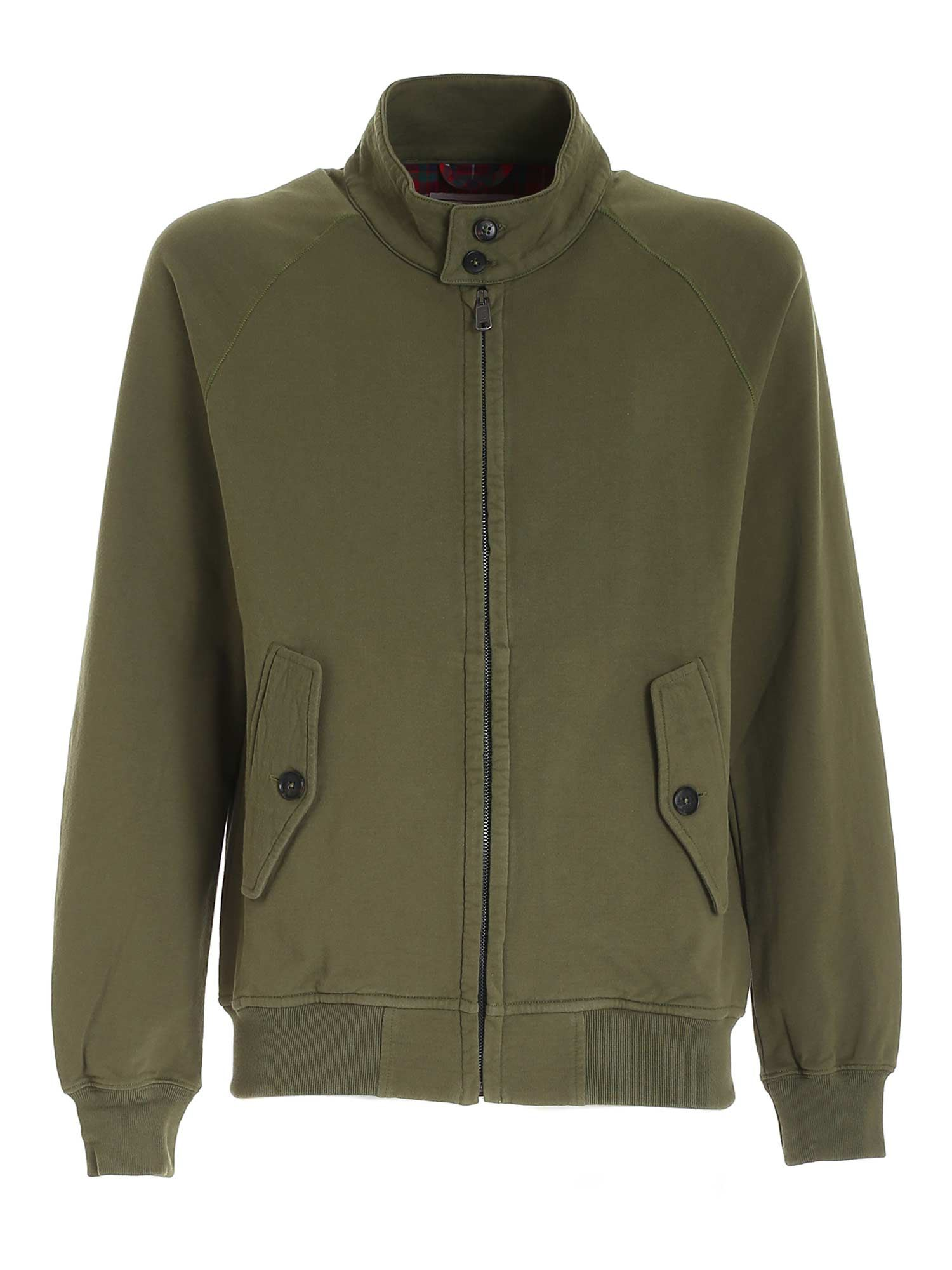 Baracuta Cottons LOGO EMBROIDERY SWEATSHIRT IN GREEN