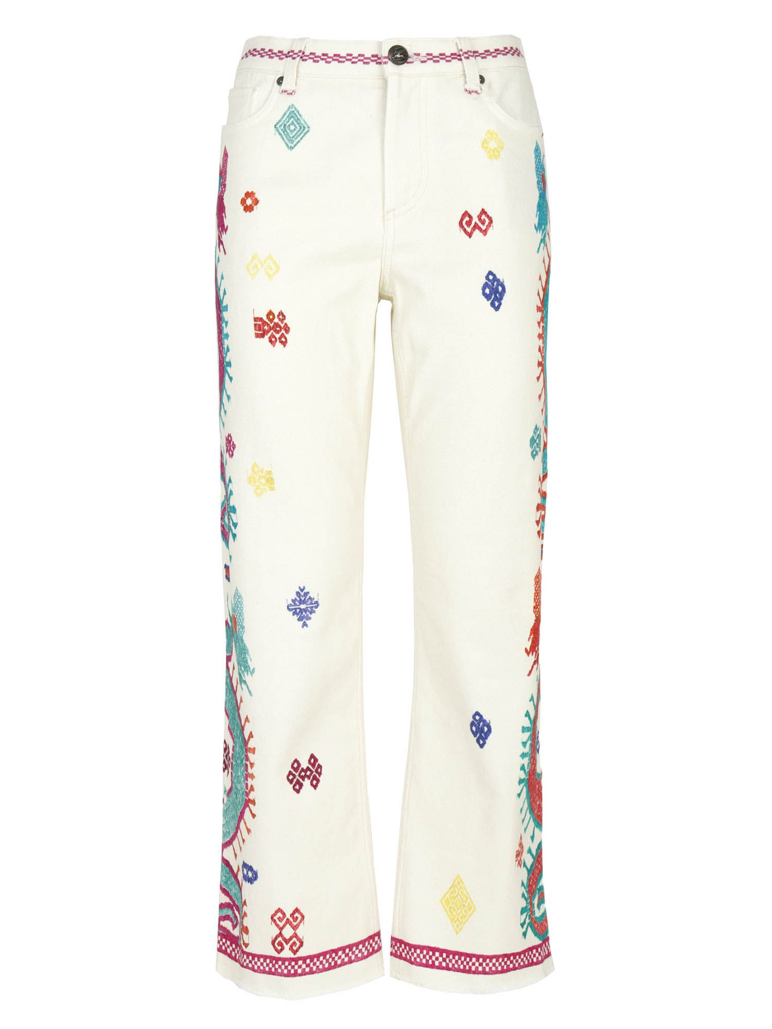 Etro EMBROIDERY EFFECT MOTIF 5-POCKET JEANS IN WHITE