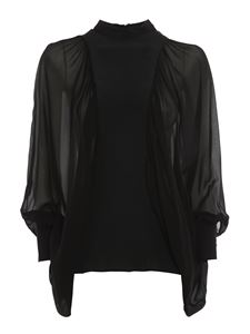 Dondup - See through sleeve blouse in black