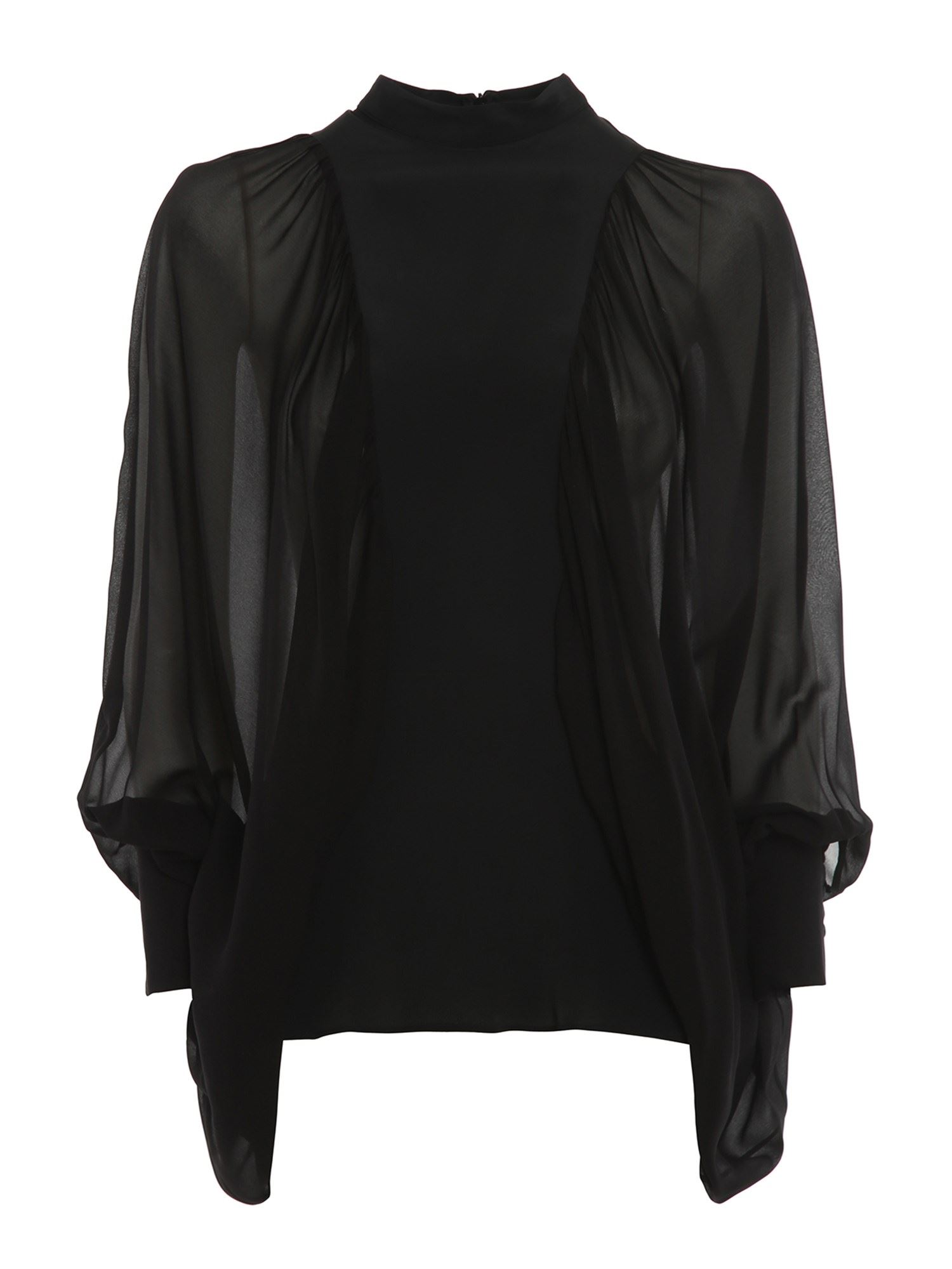 Dondup SEE THROUGH SLEEVE BLOUSE IN BLACK