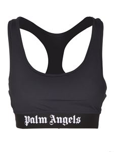 Palm Angels - Logo stretch cropped top in black