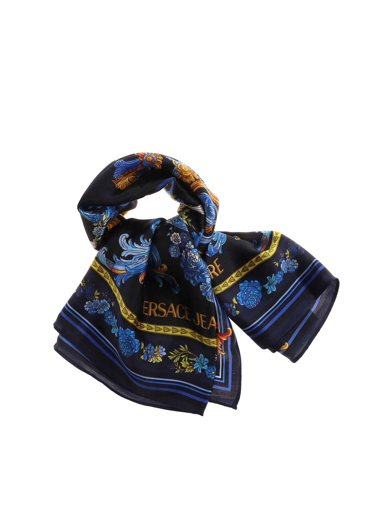Versace Jeans Couture VERSAILLES PRINT SILK SCARF IN BLACK