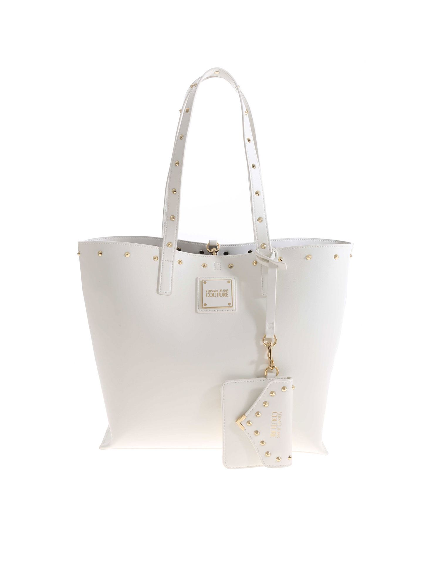 Versace Leathers STUDS SHOPPER IN WHITE
