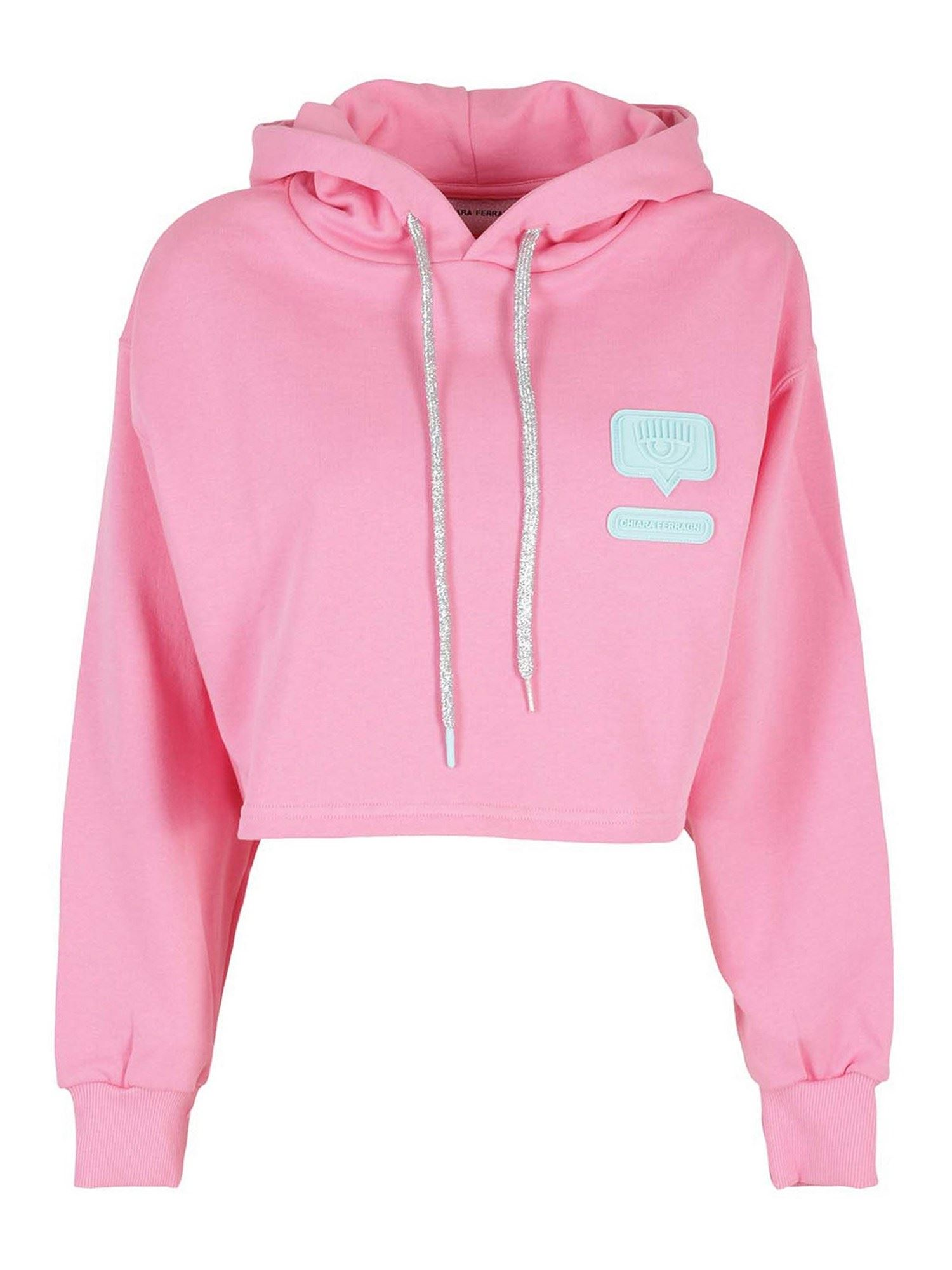Chiara Ferragni Clothing EYELIKE PATCH COTTON HOODIE IN PINK