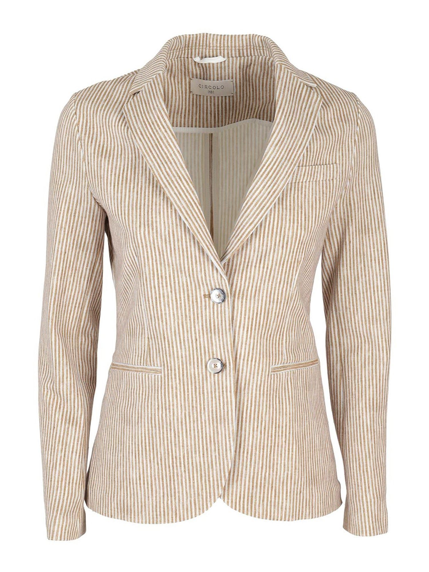 Circolo 1901 Clothing STRIPED BLAZER IN BISCUIT COLOR