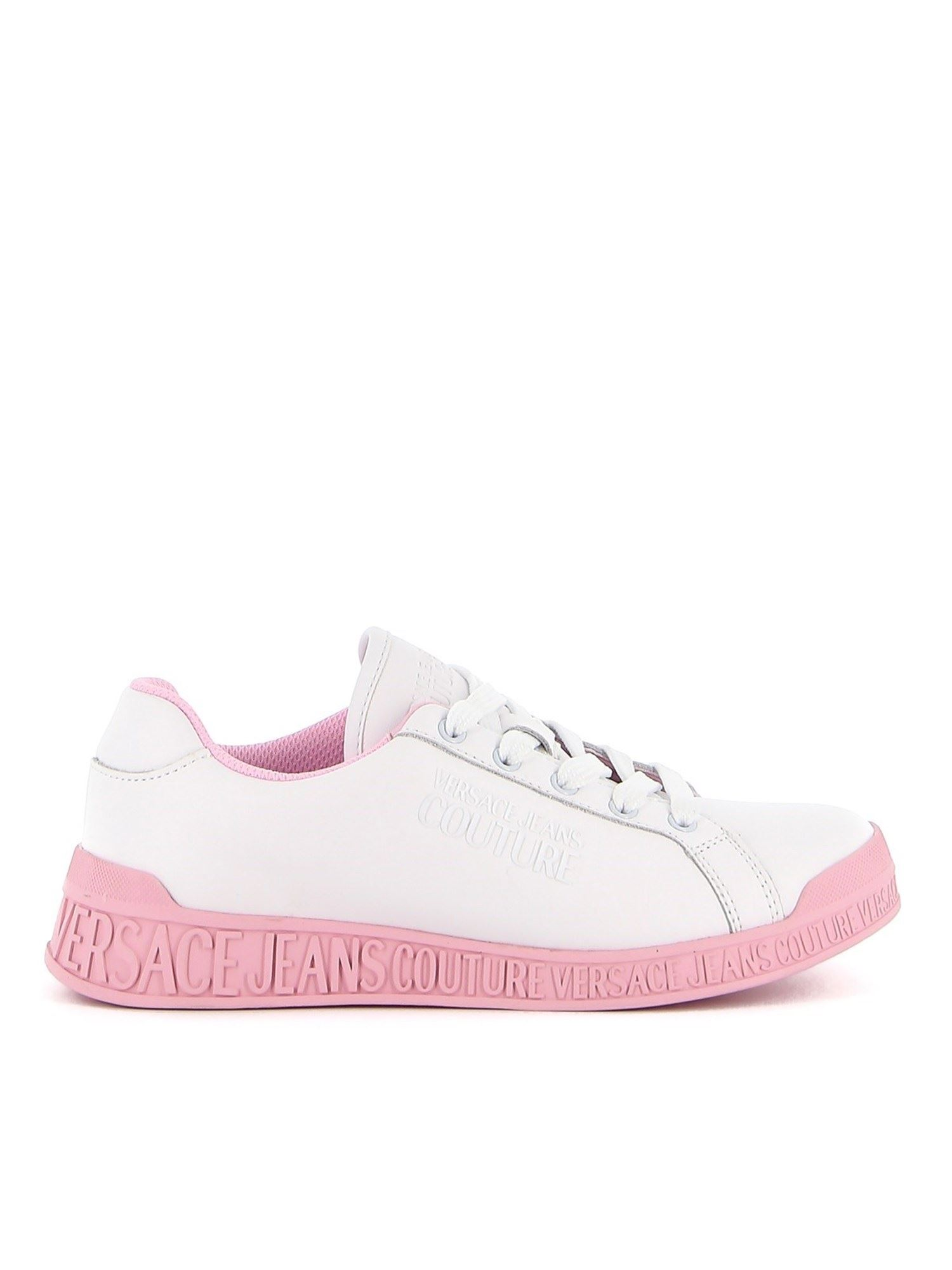 Versace Jeans Couture Low tops ENGRAVED LOGO LEATHER SNEAKERS IN WHITE AND PINK