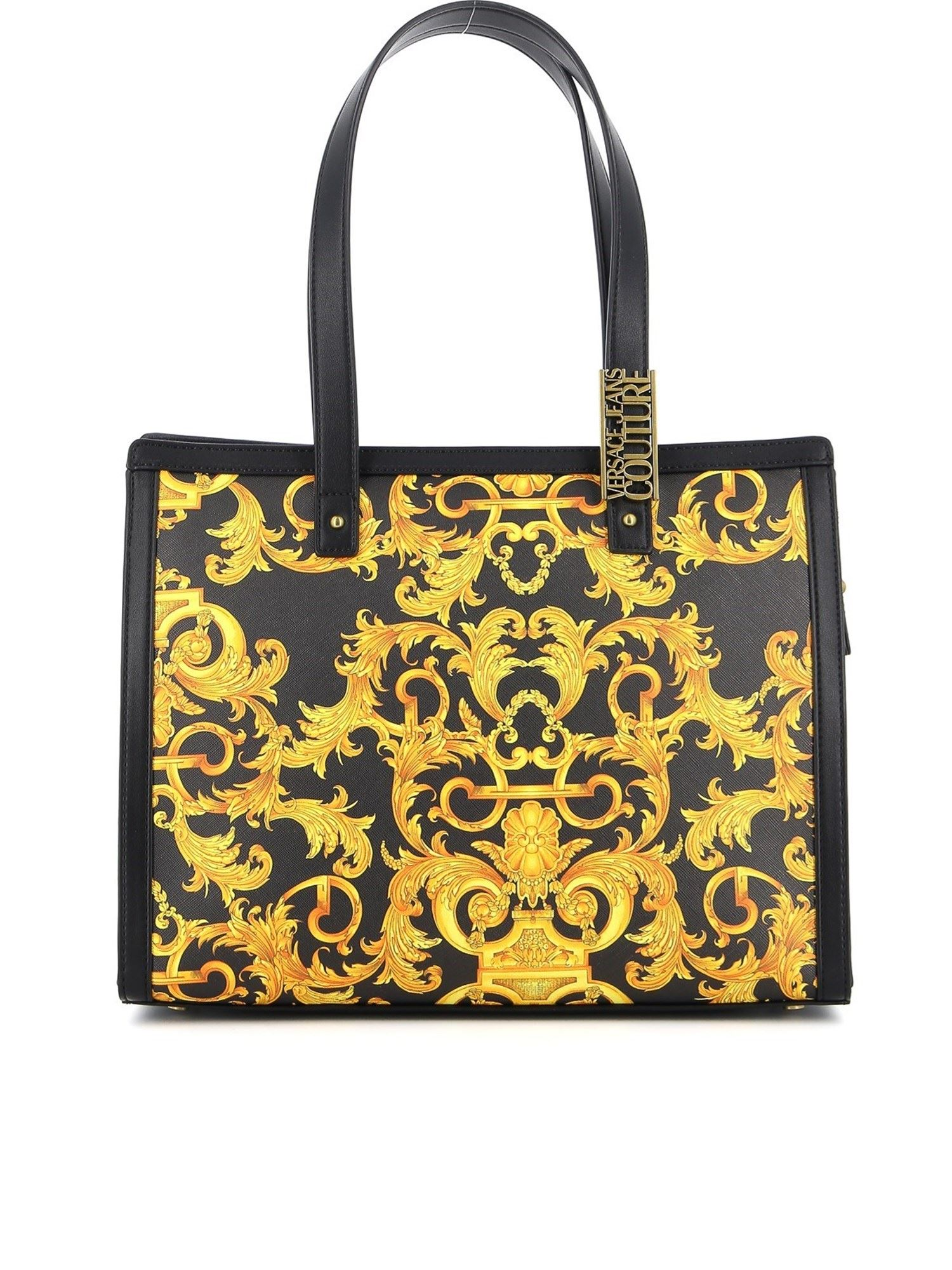 Versace Jeans Couture Leathers BAROQUE PRINT SAFFIANO TOTE IN BLACK