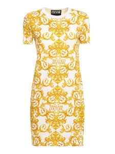 Versace Jeans Couture - Baroque print dress in white and yellow