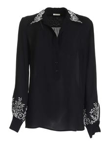 True Royal - Floral embroidery blouse in black