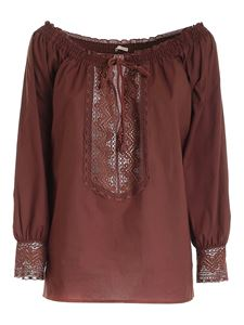 True Royal - Lace blouse in brown