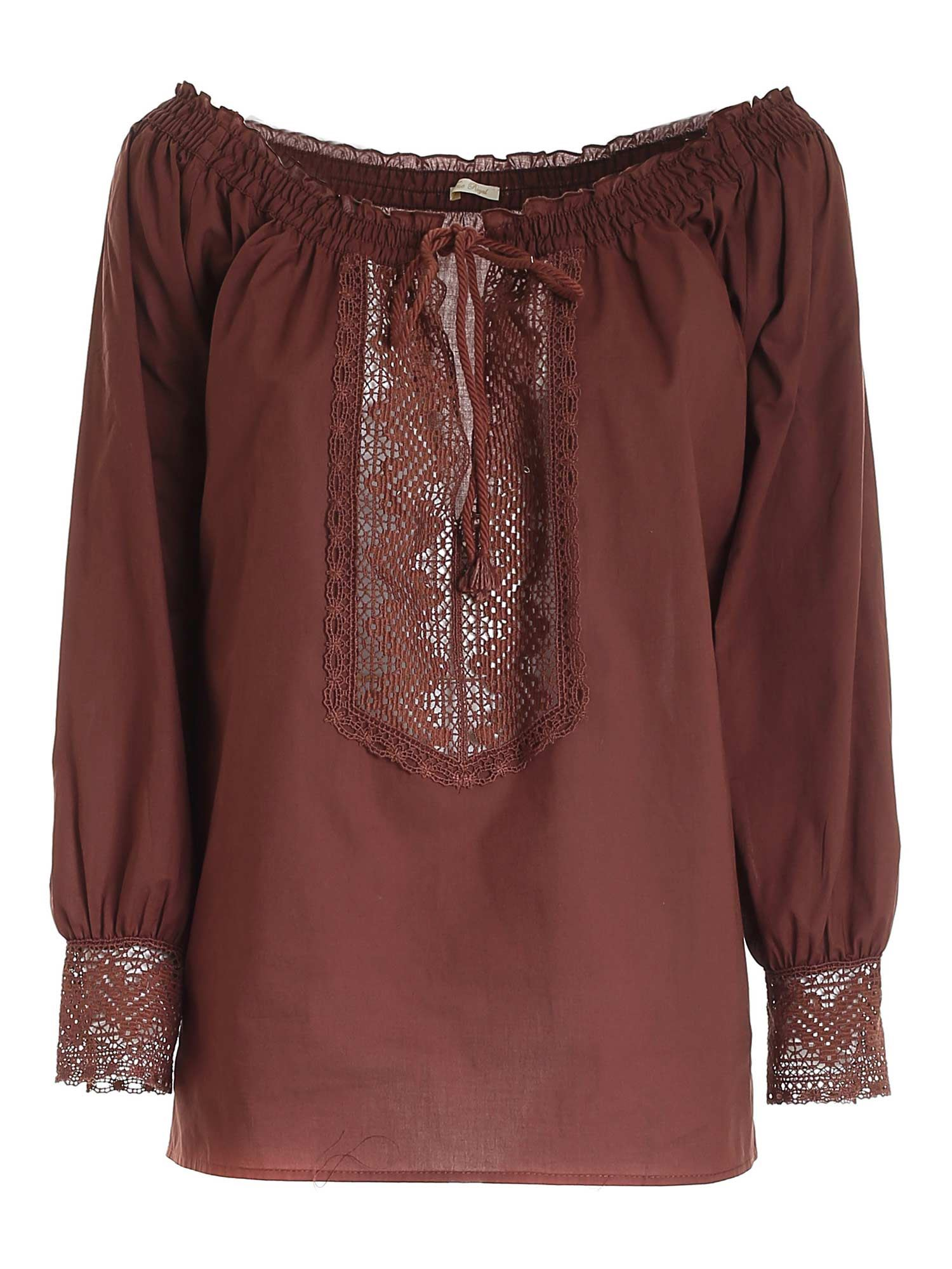 True Royal LACE BLOUSE IN BROWN