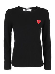 Comme des Garçons Play  - Worsted wool jumper in black