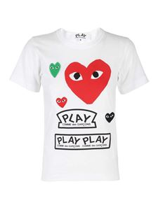 Comme des Garçons Play  - Heart patch T-shirt in white
