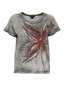 Avant Toi - Printed linen T-shirt in green and brown