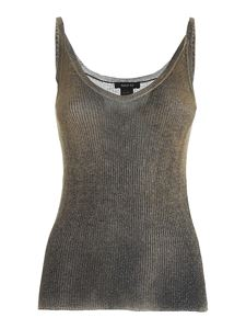Avant Toi - Ribbed lamé top in black and ocher