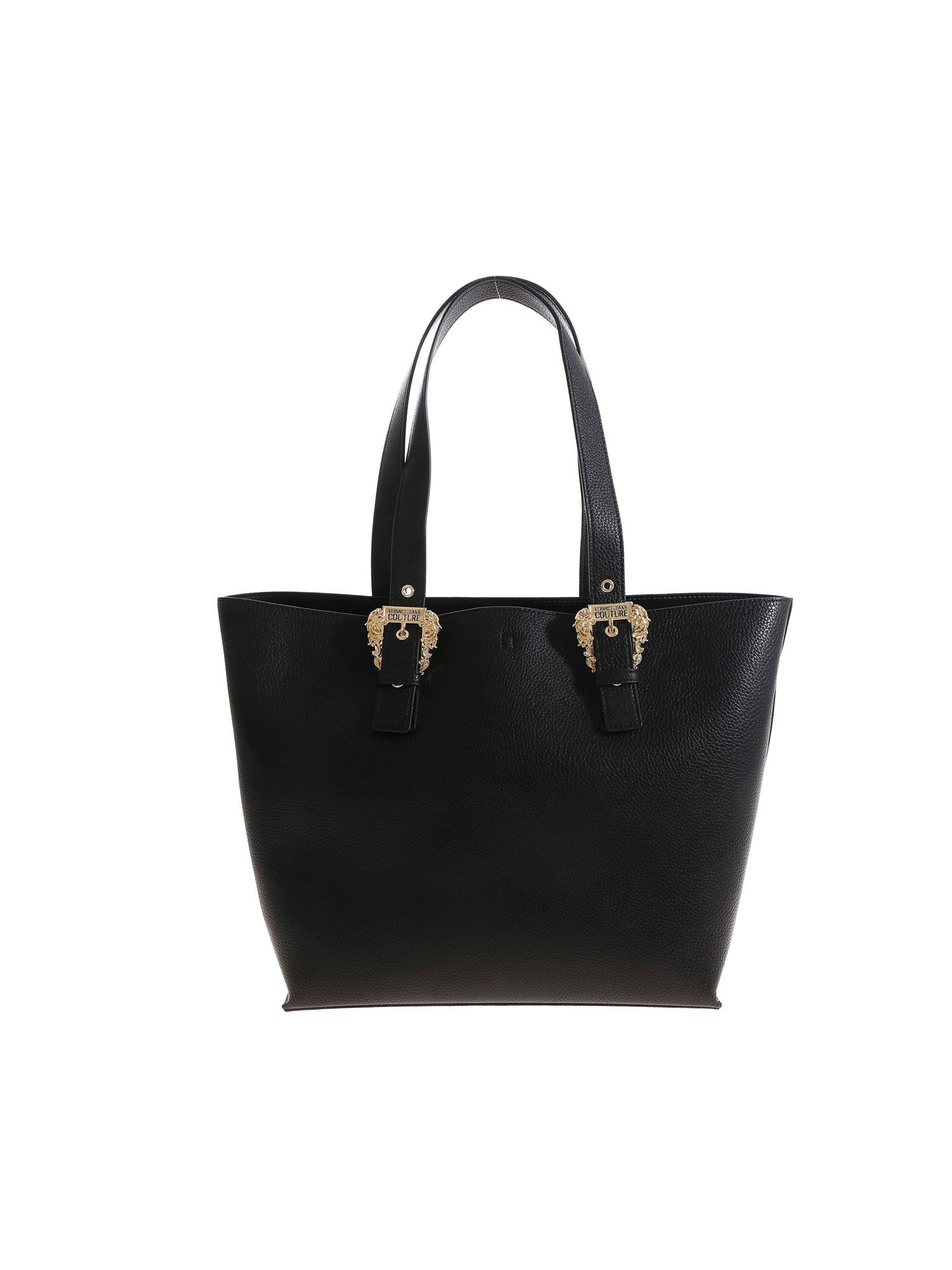 Versace GOLD COLORED BUCKLE SHOPPER IN BLACK