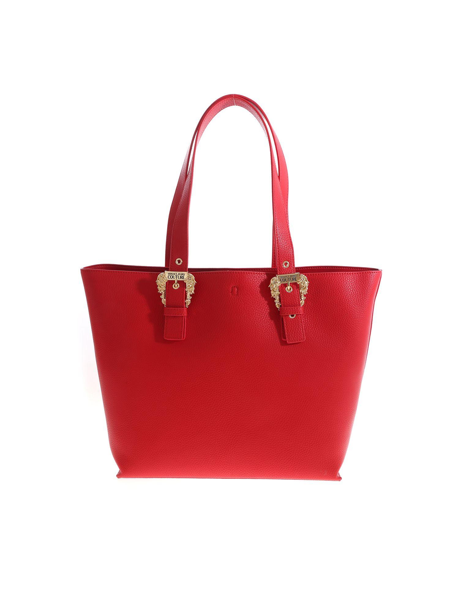 Versace GOLD COLORED BUCKLE SHOPPER IN RED