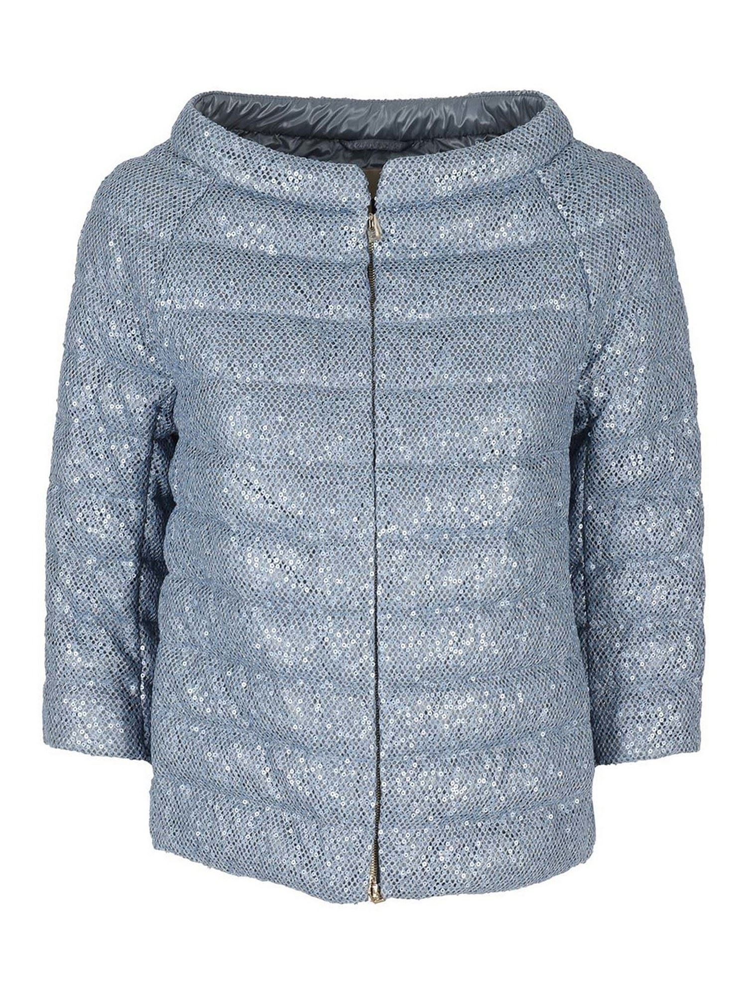 Herno Downs SEQUINS EMBELLISHED PUFFER JACKET IN LIGHT BLUE