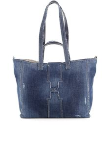 Hogan - Frayed denim tote bag in blue