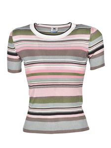 Missoni - Ribbed striped T-shirt in pink and green