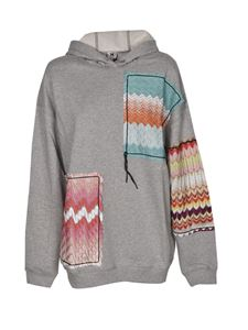 Missoni - Patchwork oversized hoodie in grey