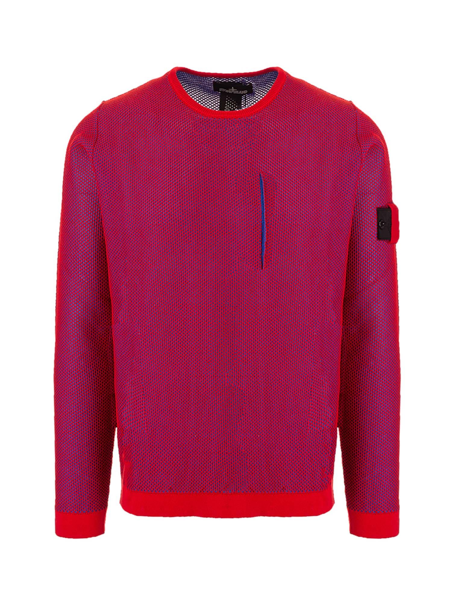 Stone Island Sweaters MESH SWEATER IN RED AND BLUE