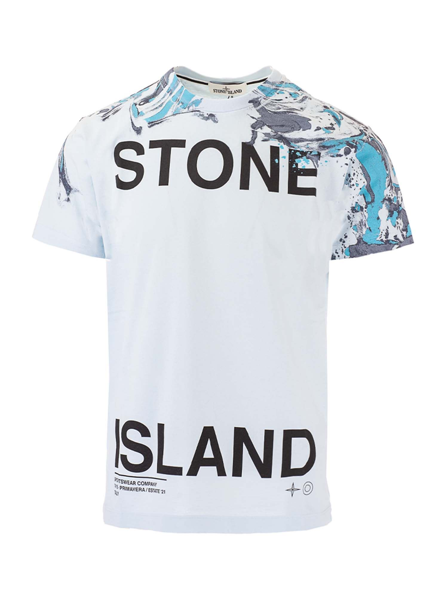 Stone Island Cottons MARBLE TWO PRINTED T-SHIRT IN LIGHT BLUE