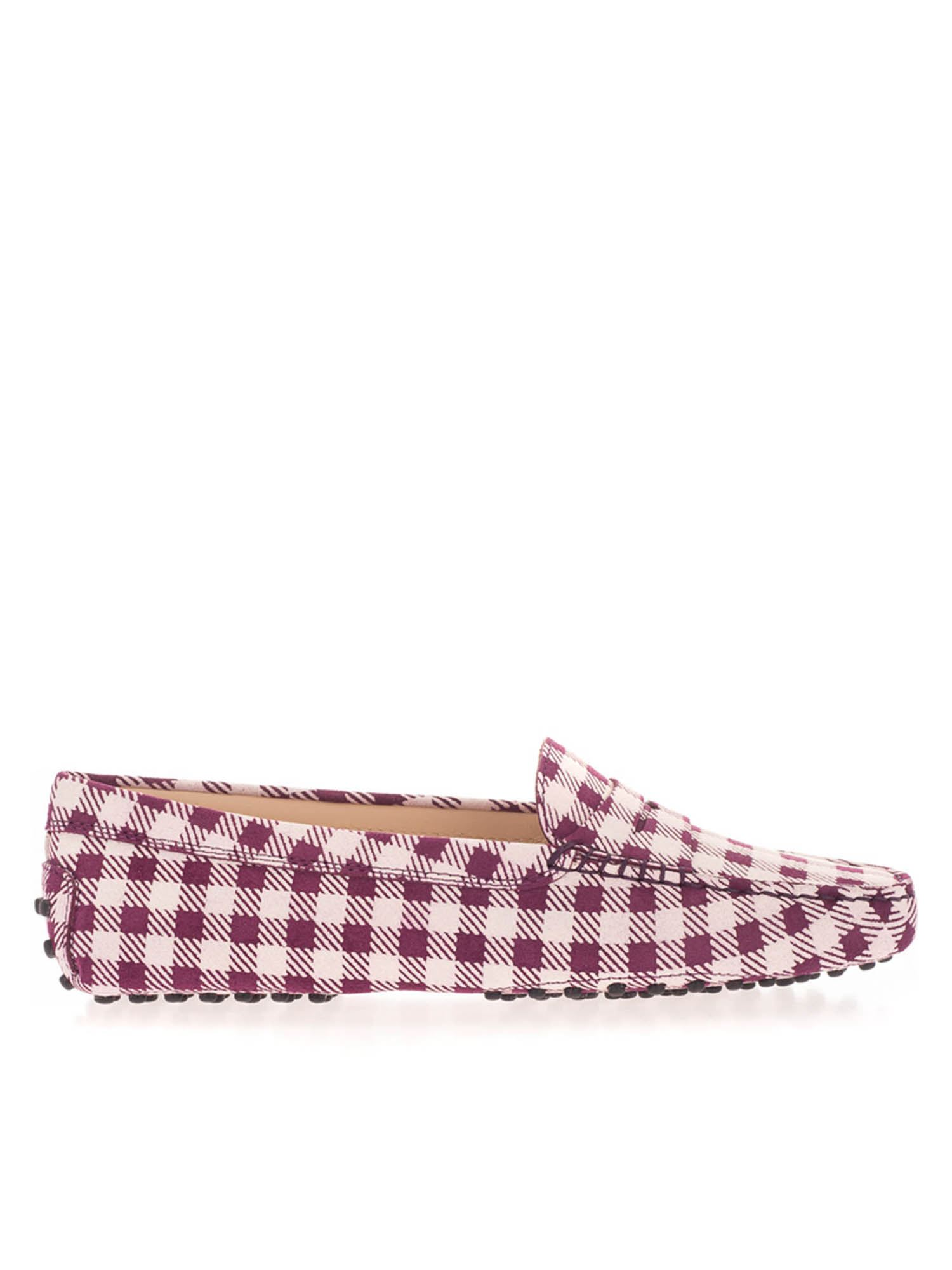 Tod's Flats GOMMINO CHECKED LOAFERS IN PURPLE AND WHITE