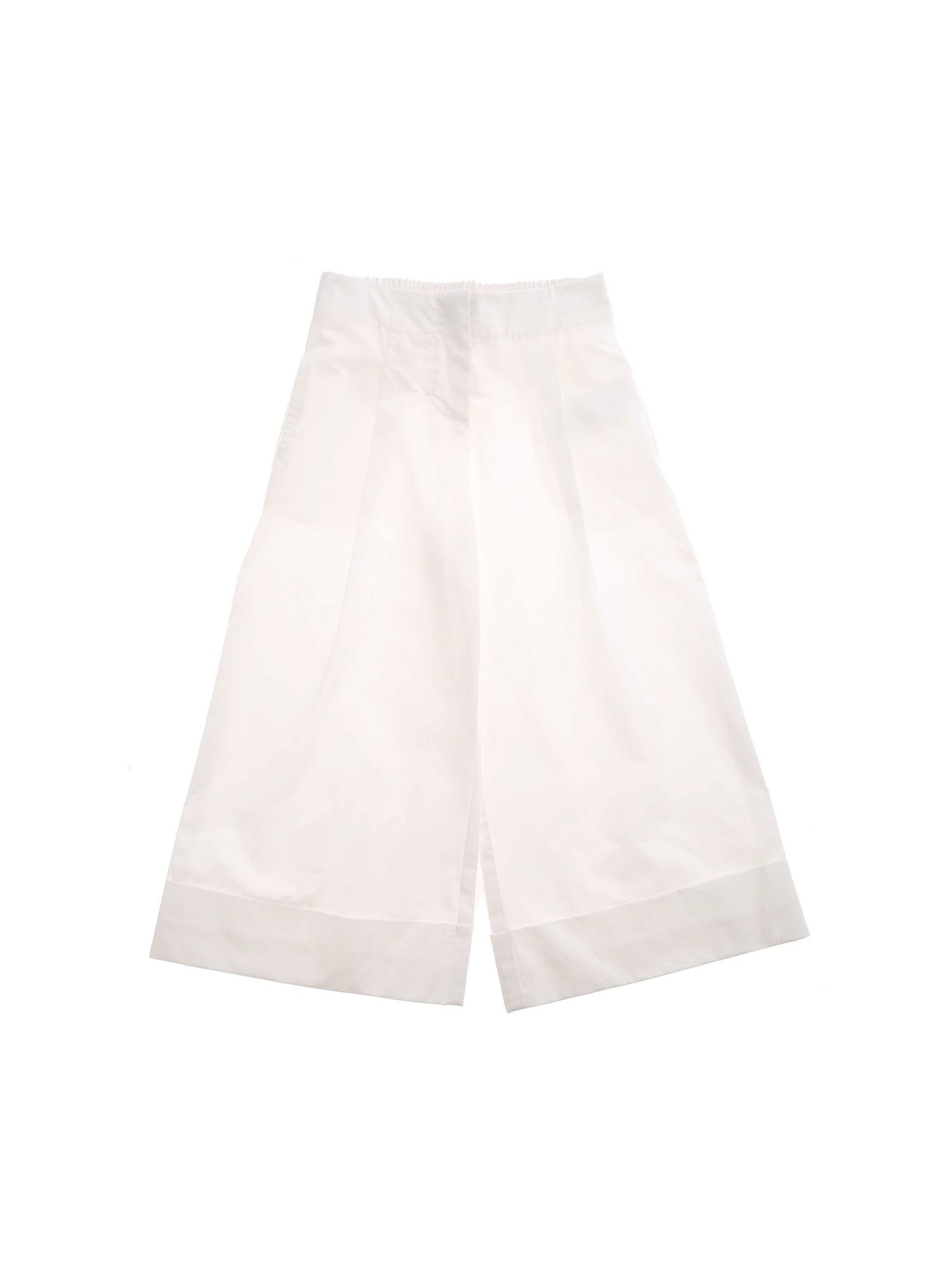 Monnalisa Cottons TURNED-UP HEM PANTS IN WHITE
