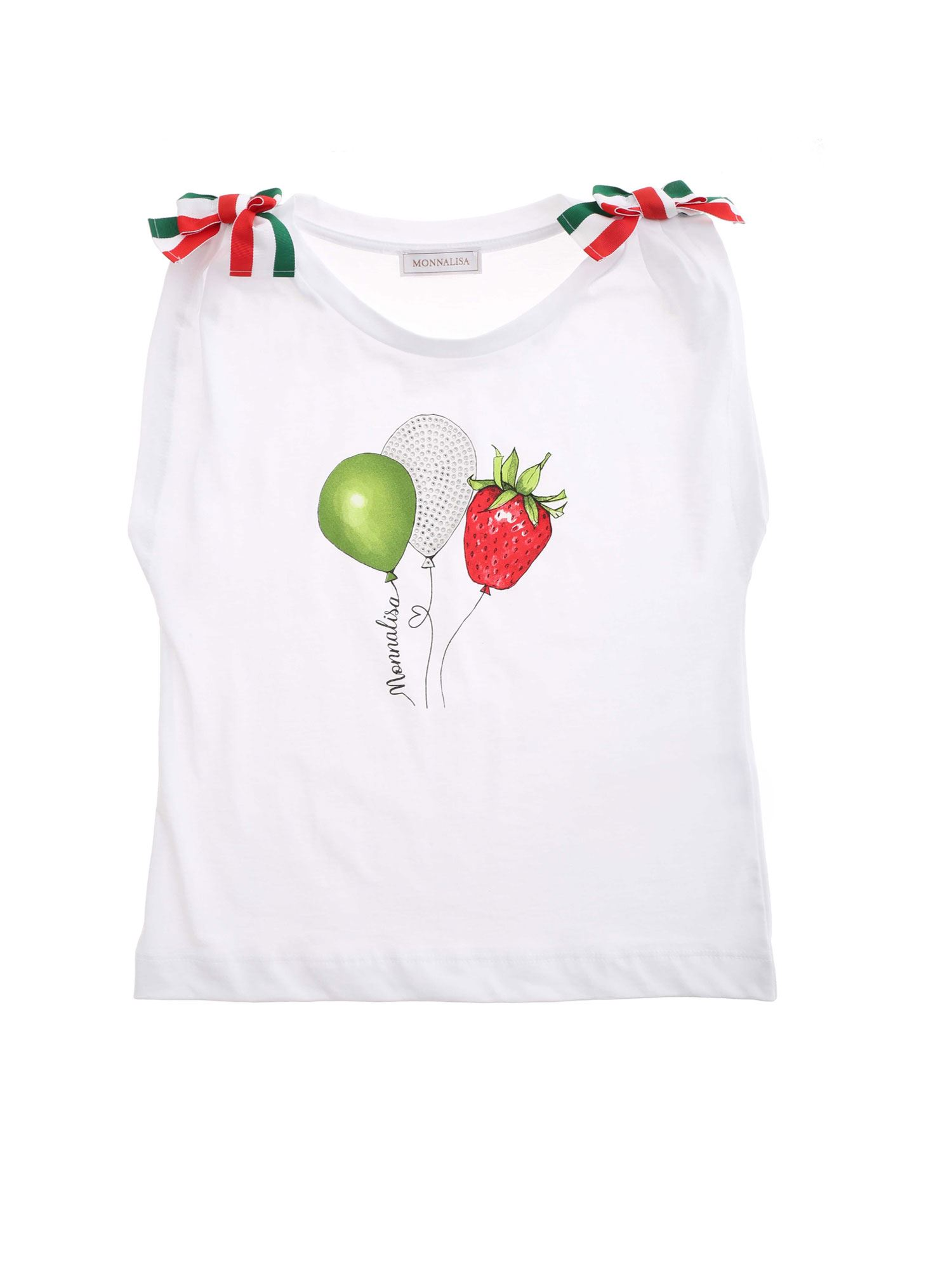 Monnalisa Cottons RHINESTONES AND BOWS T-SHIRT IN WHITE