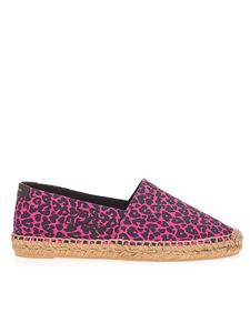 Saint Laurent - Animal print espadrilles in fuchsia and black