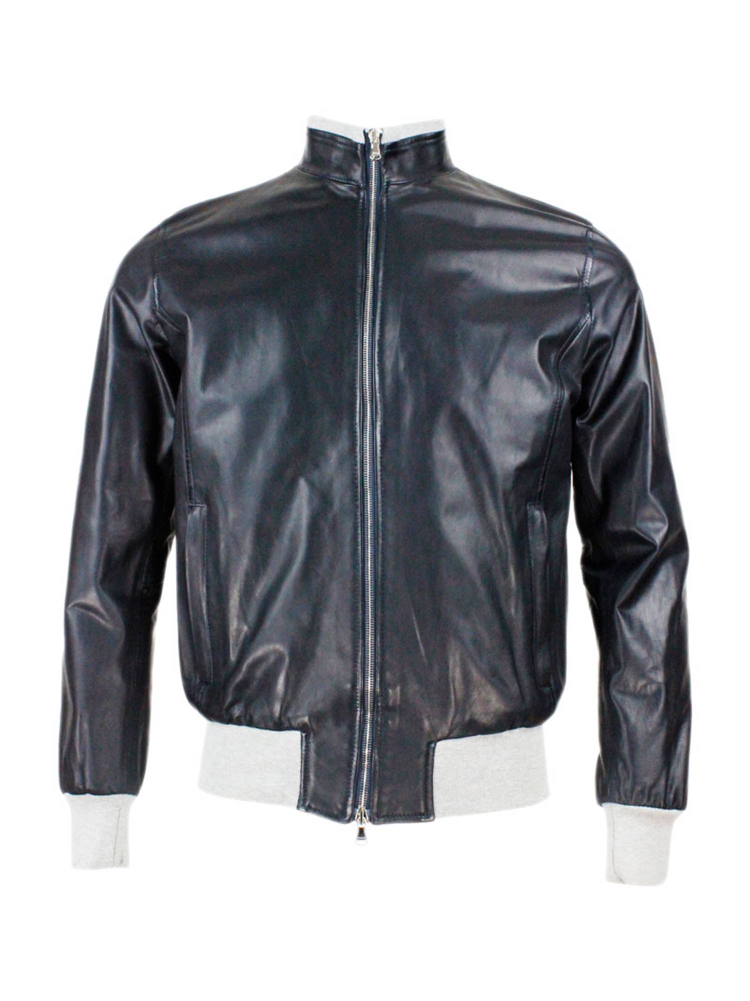 Barba LEATHER JACKET IN BLUE